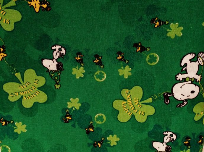 Peanuts st patrick s day cats custom saddle pads for Celestial fleece fabric